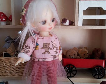 BJD Doll Outfit /Hat Top And Tights In Set / Small  BJD Dolls / Hujoo Baby Suve