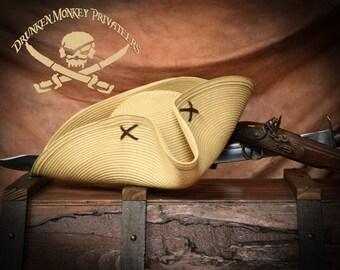 Straw Pirate Tricorn Hat