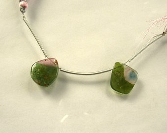 Watermelon tourmaline slice beads 14.5-15.5mm 10.3ct 2 pieces