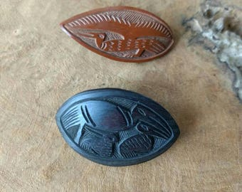 Bird Broche - Wood Carving - Tribel - Oval Shape - Brooches - Black - Brown - Set of 2