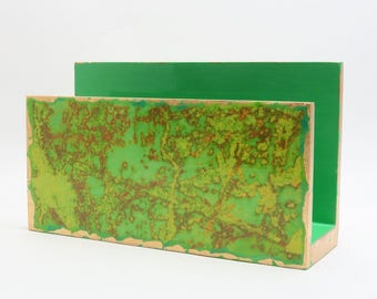 Handmade Letter Holder/ Mail Holder/ Desk Accessory/ Desk Organizer - Decoupage with Green Yellow Abstract Design & Gold Leaf