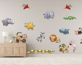 Wild African Animals on Parade Wall Stickers - WDDASA10047