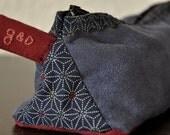 Trousse triangulaire - Suédine/Coton japonais - Cousu-main