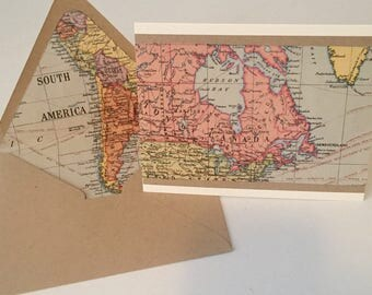 Vintage World Map// Letter Set// Stationery// Deployment Letters// Traveler's Stationery