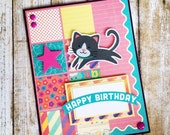 Leaping kitty birthday card, Layered scrapbook papers, for adult, woman, friend, teen, child, girl, coworker, girlfriend, wife, daughter