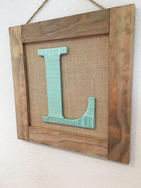 Framed Initial, Framed Letter, Burlap Decor, Home Decor, Initial ...