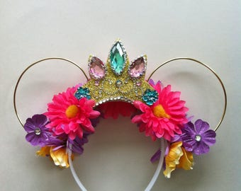 Tangled Crown Floral Mickey Ears Teal Jewel