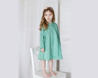Girls green dress, girls minimalist dress, girls denim dress, girls birthday dress, girls long sleeve dress, toddler denim dress, jean dress