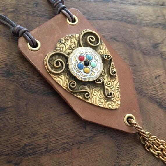 Victorian Brass Medallion & Tassel Leather Necklace