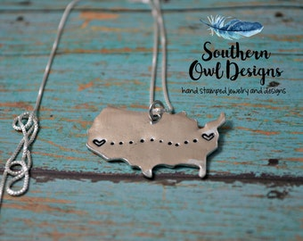 Long distance necklace, USA jewelry, hand stamped long distance Jewelry, gift for her, long distance love