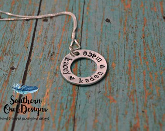 hand stamped mother's necklace, mom necklace, sterling silver,  hand stamped washer necklace, grandmother's necklace, gift for her