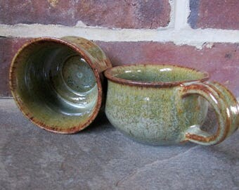 A Pair of Handmade Ceramic Cup and Mug - Mossy Green