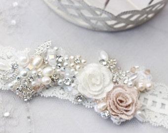 wedding garter, bridal garter, lace garter, white garter, crystal garter, toss garter, bridal accessories, wedding accessories,flower garter