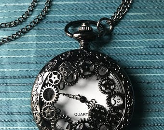 Antique Style Pocket Watch On Necklace Chain.