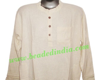 full sleeve long khadi kurta for men, size : chest 46 x height 34 inches (medium), also available large and extra large size