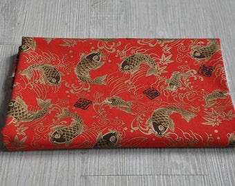 Japan red carp Fabric for 1/2 yard