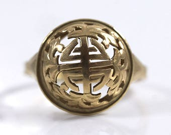 Ming's Hawaii Chinese 14K Yellow Gold Dome Ring (Size 5)