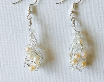 Silver Wire Crochet Teardrop Pearls And Crystals Dangling Earrings