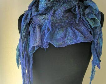 Silk felted scarf  Unique fashion accessory Boho Accessories