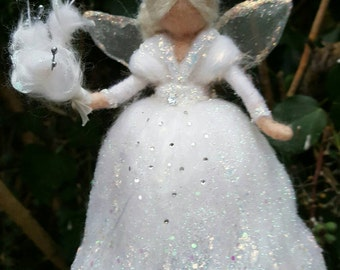 Winter fairy Waldorf inspired needle felted woolen