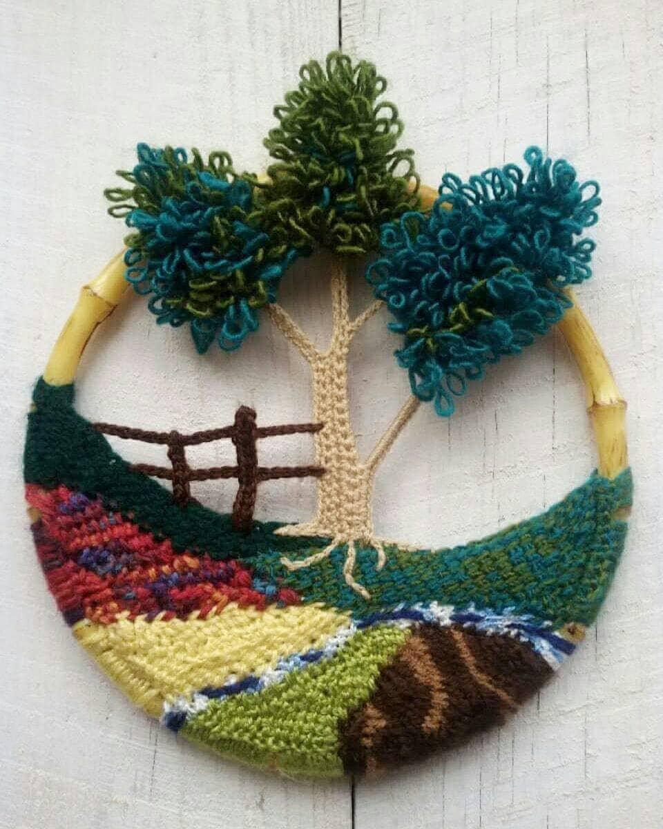Crochet Wall Hanging Crochet Landscape Wall Art By