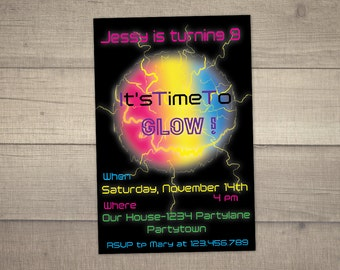 Glow In The Dark Invitation , Glow Party , Glow In the Dark Birthday Invitation , Neon Party Invitation -digital file. FREE Thank You card!