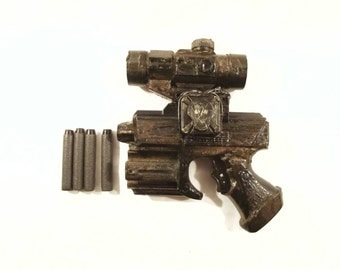 Steampunk Gun Nerf Gun LARP cosplay replica weapon Mad Max Gun: working Nerf hand gun with 4 custom bullet hand painted in uk FREE P&P in UK