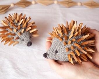 Animal Toy Hedgehog With Wooden Needlesl/ Wooden Animal Toy Hedgehog / Toddler Toy/ Stuffed Animal Toy