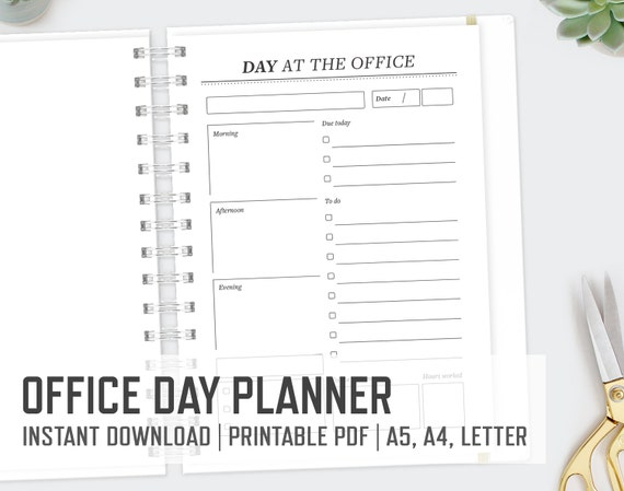 Day At The Office / Letter A5 A4 / Day Planner Daily Planning