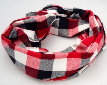 Infinity Scarf, red, black and white plaid flannel, gift for her, accessory