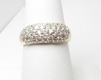 Beautiful Estate Diamond Pave Band, 14 k yellow gold, size 7.75, 1.00 ct Diamond Total Weight