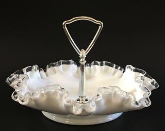 Fenton Silver Crest Handled Bon Bon Candy Dish Bridal Shower Wedding Decor