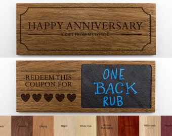 3x8 Wooden Couples Coupon with REAL SLATE - Valentine's Day Coupon, Anniversary Coupon, Love Coupon, Romantic Coupon, Valentine's Gift
