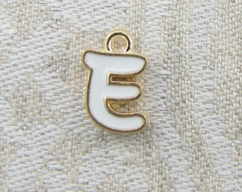 """White and Gold Enamel Letter """"E"""" Charm, 1 or 5 letters per package  ALF026e-W"""