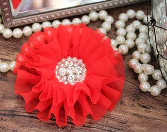 "4"" Red Organza Chiffon Fabric Flowers with Crystal Pearl Center - Fluffy - Beautiful -Hair Accessories - Wedding - TheFabFind"