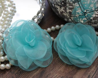 "SET OF TWO - 4"" Aqua Light Teal Blue Organza Large Fluffy Roses Flowers - Elegant - Beautiful - Hair Accessories - Wedding - TheFabFind"