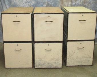 3 Metal Base Cabinets 2 Drawer Filing Work Shop Bench Table Legs Vintage Storage
