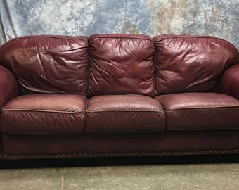 oxblood maroon burgundy leather couch sofa upholstery vintage living room - Mad Men Sofa