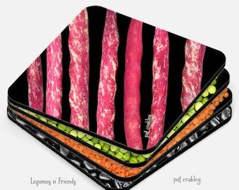 Colorful Legumes|Lentils|Beans|Peas Coaster Set | Hostess Gift