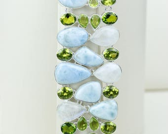 Larimar Moonstone Peridot 925 S0LID Sterling Silver Bracelet B2537