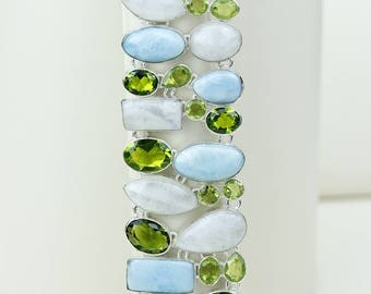 Wow! Larimar Moonstone Peridot 925 S0LID Sterling Silver Bracelet B2584