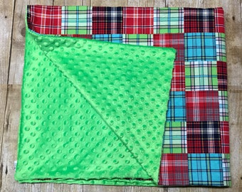 Madras Plaid  Baby Blanket, Crib Blanket, Minky baby blanket, personalized baby blanket, lime green, red and blue