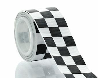 "1.5"" Black Racing Checkered Grosgrain Ribbon - 5yds"