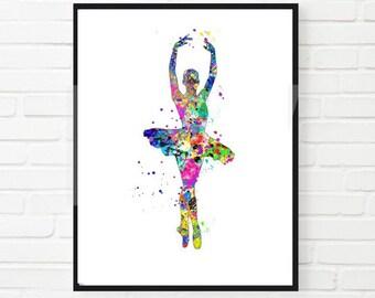 Ballerina Watercolor Print, Wall Decor Home Decor Instant Download Printable Colorful Dancer Ballet