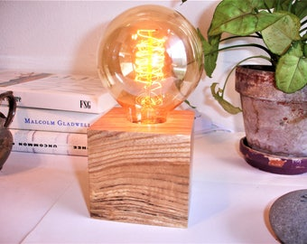 Popular hickory table lamp with an IN-LINE DIMMER switch and an Edison old world globe bulb.