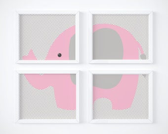 Elephant Wall Art, Elephant Wall Decor, Elephant Nursery Art, Nursery Wall Art, Girl Nursery Wall Art, Elephant Art, Pink and Gray,  001
