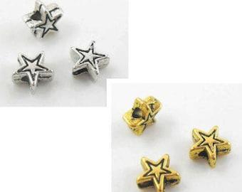 200pcs Tibetan Silver/Gold Star-shaped Spacer Beads 6x3mm