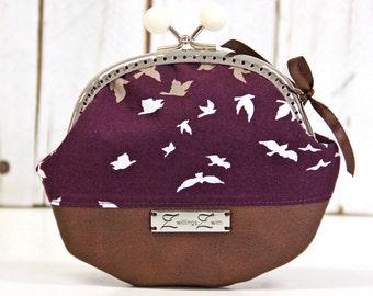 Frame Coin Purse Handmade - Swallow Aubergine, Cute little Coin Purse, Wallet