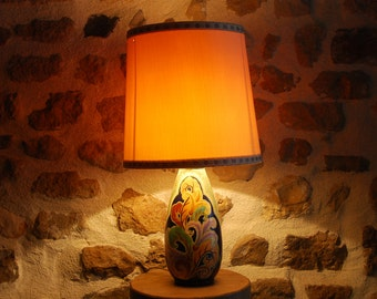 Modern style table lamp, base by Louis Fontinelle well known French ceramics artist. Made in Marines. Original shade with lamp.