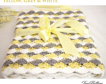 Crochet baby blanket - Crochet yellow grey and white baby blanket - Crocheted Baby blanket - Yellow - White - 34X26 inches